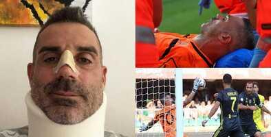 ¡De alto impacto! El portero al que Cristiano noqueó terminó con fractura y cuello ortopédico