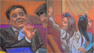 'El Chapo' casi no pudo contener las lágrimas y la emoción cuando vio a sus hijas gemelas en el juicio
