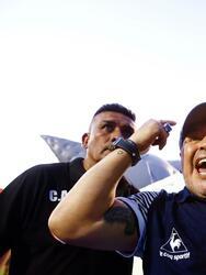 LA PLATA, ARGENTINA - FEBRUARY 29: Diego Armando Maradona head coach of Gimnasia y Esgrima La Plata gestures to fans after winning a match between Gimnasia y Esgrima La Plata and Atletico Tucuman as part of Superliga 2019/20 at Estadio Juan Carlos Zerillo on February 29, 2020 in La Plata, Argentina. (Photo by Marcos Brindicci/Getty Images)