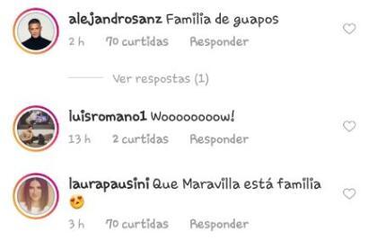 """Entre ellos, su compatriota  <b>Alejandro Sanz</b>, quien escribió: """"Familia de guapos"""". Así como la cantante Laura Pausini y el actor mexicano Luis Romano."""