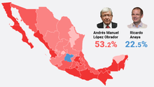 Este mapa muestra el triunfo arrollador de Andrés Manuel López Obrador en México