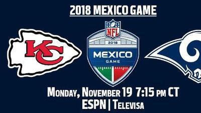 El Chiefs vs. Rams en la Ciudad de México se jugará en lunes por la noche