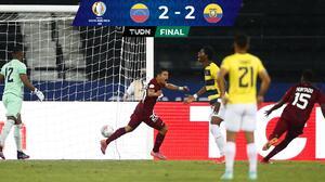 Con el último suspiro, Venezuela le saca el empate a Ecuador
