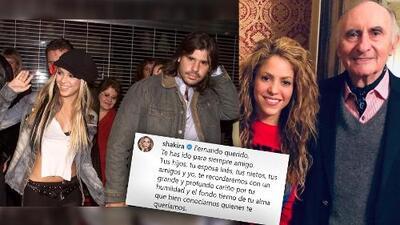 Shakira se expresó sentidamente sobre la muerte de Fernando de la Rua, su exsuegro