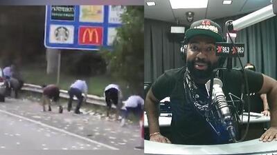 """""""Si tu ves dinero volando, ¿qué vas a hacer?"""" Camión blindado deja caer miles de dólares en efectivo en medio de la autopista"""