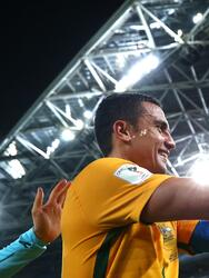 SYDNEY, AUSTRALIA - OCTOBER 10: Tim Cahill of Australia celebrates after the 2018 FIFA World Cup Asian Playoff match between the Australian Socceroos and Syria at ANZ Stadium on October 10, 2017 in Sydney, Australia. (Photo by Ryan Pierse/Getty Images)