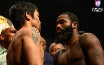 En fotos: Manny Pacquiao regresó a Las Vegas para el pesaje con Adrien Broner
