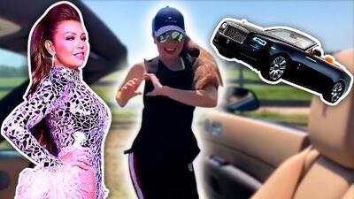 En un Rolls Royce y de retroceso: Thalía hace el #kikichallenge versión reggaeton y grupera
