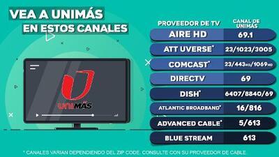 Estos son los canales en donde puede ver Unimás