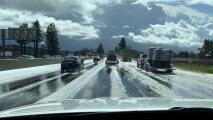 ¿Área de la Bahía o la Sierra Nevada? El granizo cubre de blanco las carreteras de la región