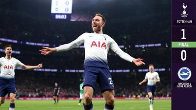 Con un golazo de Eriksen, Tottenham venció el modesto Brighton & Hove Albion