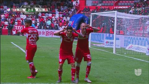 ¡Golpe final para el Atlas! Rodrigo Salinas marca el 2-0 para el Toluca