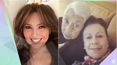 Así fue el reencuentro de Thalía y Laura Zapata en el centenario de su abuela