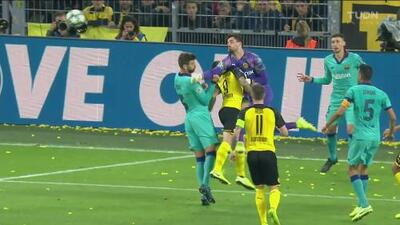 Tremendo golpe entre Bürki y Alcácer en el Dortmund vs Barcelona