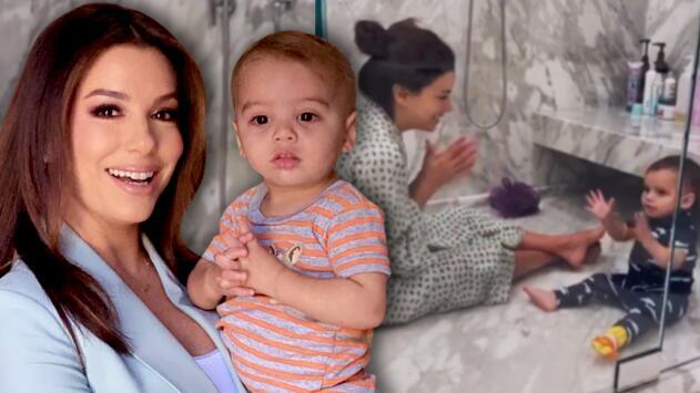 El tierno video de Eva Longoria y su hijo cantando en la ducha a través de lenguaje de señas