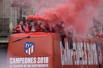 Madrid vibró con el Atlético en la celebración de la Europa League