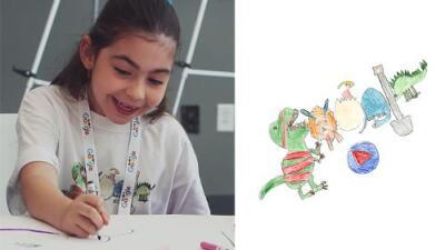 """""""Lo que me inspira"""": la historia detrás del doodle de dinosaurios que dibujó una niña de 7 años"""
