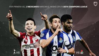 ¡Día histórico! Por primera vez, tres goles mexicanos en mismo día de Champions League