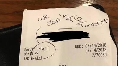 """El mesero que aseguró recibir el mensaje racista """"no damos propina a terroristas"""" inventó toda la historia, aclara el restaurante"""