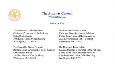 22 meses de trabajo resumidos en 4 páginas: este es la carta enviada al Congreso sobre la investigación de Mueller (en inglés)