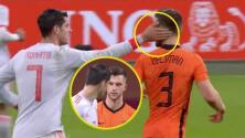 El 'golpecito' que da Morata a Veltman en el Holanda vs España