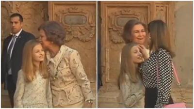 La reina Letizia le limpia la frente a su hija después de ser besada por su abuela, doña Sofía
