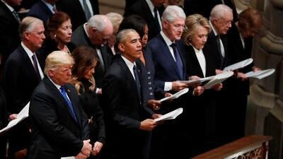 La primera fila: el incómodo lugar en el funeral del expresidente George H.W. Bush