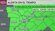 Emiten una vigilancia por inundaciones repentinas para el centro de Texas