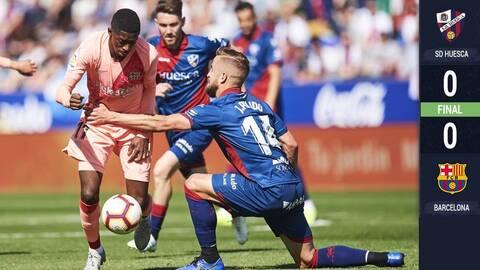 Con cuatro debuts en el 11 titular, Barcelona empató en casa del Huesca