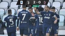 Juventus derrota al Bologna y sigue al acecho del Milan
