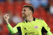 Jun 19, 2021; Harrison, New Jersey, USA; New England Revolution goalkeeper Matt Turner (30) reacts after the game against New York City FC during the second half at Red Bull Arena. Mandatory Credit: Vincent Carchietta-USA TODAY Sports