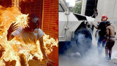 Un muerto, dos jóvenes quemados y uno bajo una tanqueta militar: recrudece la violencia en las protestas en Venezuela