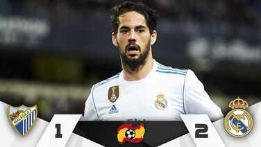 Real Madrid gana 2-1 en Málaga con un Isco inspirado