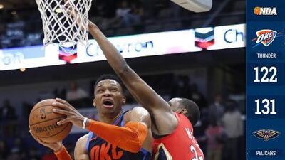 El Thunder cae ante los Pelicans, pero Westbrook extiende récord de triple-dobles