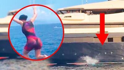 En video: el escalofriante salto de Kylie Jenner (y compañía) desde las alturas de su yate rentado de $250 millones