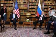President Joe Biden meets with Russian President Vladimir Putin, Wednesday, June 16, 2021, at the 'Villa la Grange', in Geneva, Switzerland. (AP Photo/Patrick Semansky)