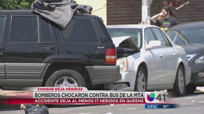 Bomberos de NYC chocan con autobús en Queens: 17 personas resultan heridas