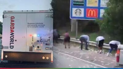 (Video) Camión blindado tira dinero en pleno 'freeway' y le piden a la gente que lo recogió que lo devuelva