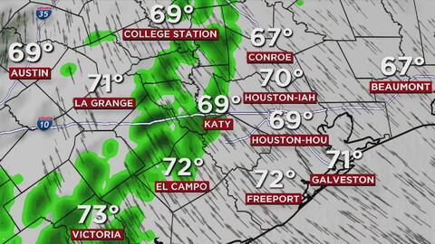 Miércoles húmedo, con temperaturas en el rango de los 70 grados y riesgo de tiempo severo en Houston