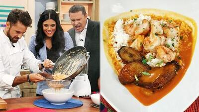 Francisca demostró sus habilidades culinarias al preparar un típico encocado de camarón ecuatoriano
