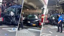 Camión de bomberos choca contra auto y 10 personas resultan heridas