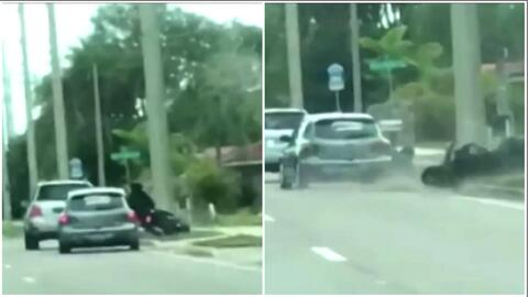 Un auto arremete contra un motociclista en Florida y queda captado en video