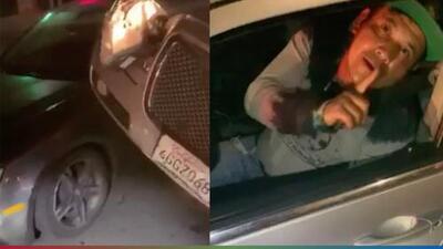 (Video) Conductor ebrio termina encima de otro carro aunque según él solo se 'pistió' una