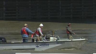 Buzos profesionales colaboran para rescatar la grúa que cayó al río Sacramento