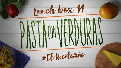 Pasta con verduras salteadas + mango (Día 11) - 23 ideas para lunch boxes #ElRecetario