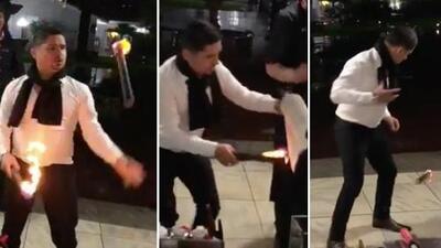Con la candela no se juega: Larry Hernández pudo haber tenido un accidente por hacer malabares con fuego