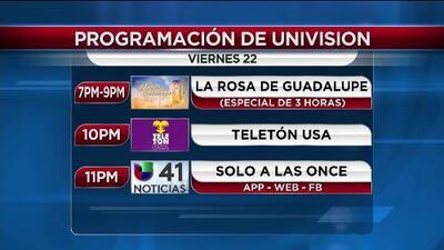 Esta es la programación de Univision 41 Nueva York mientras se celebra el TeletónUSA
