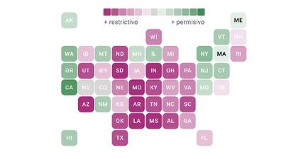 El mapa del aborto en EEUU: estos son los estados que más restringen o protegen el derecho a interrumpir un embarazo