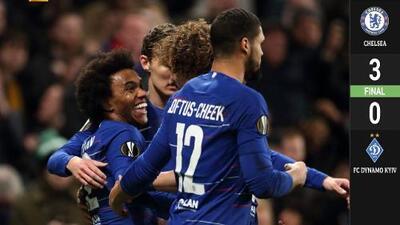 Chelsea, con comodidad, venció 3-0 al Dinamo de Kiev y está de cerca de los Cuartos de Final