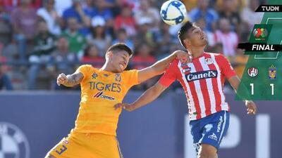 Los Tigres no pudieron ante un disminuído San Luis por expulsión